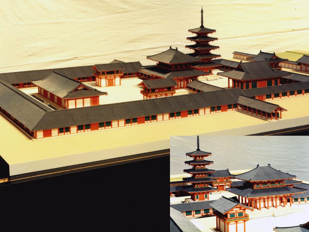 川原寺復元模型 │ 縮尺:1/100 │ 奈良文化財研究所 飛鳥資料館